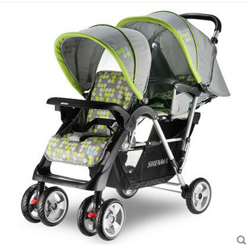 Shinema Fold Aluminum Alloy Frame Twins Stroller Super Suspension Pram With Mosquito And Rain Cover twins stroller double stroller super twins stroller carrier pram buggy leader handcart ems shipping