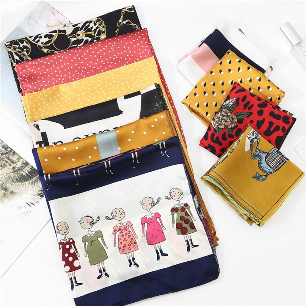 50*50cm Satin Silk Scarf Fashion Women Neck Scarf Print Square Flight Attendants Handkerchief Rings Lady Hair Scarf