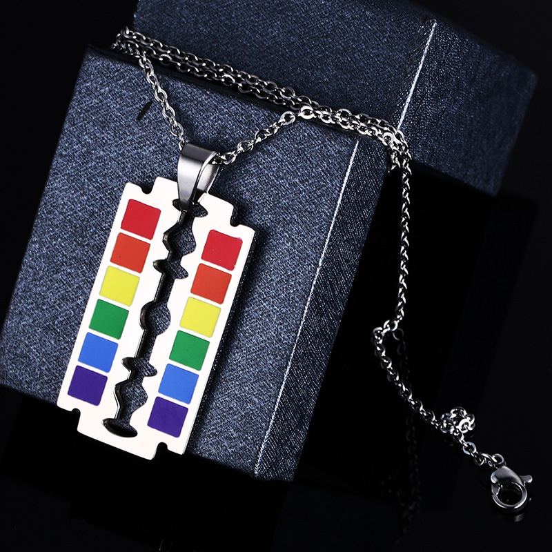 Drop Shipping Gay Flag Rainbow Razor Blade Pendant Gay and Lesbian Pride Necklace in Pendants from Jewelry Accessories