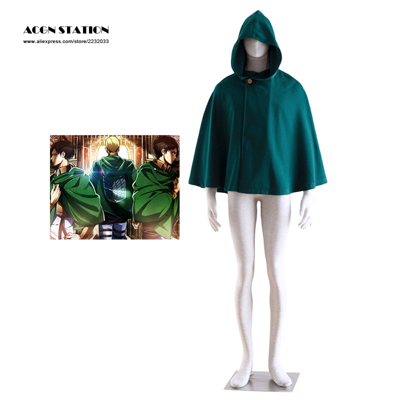 2018 Hot Anime Attack On Titan Eren Jaeger Scouting Legion Uniform Cloak Green Unisex Cosplay Cape  For Halloween