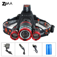 ZPAA LED Headlamp 10000LM 3T6 Chips Headlight Rechargeable Zoom Head Light Flashlight Hunting 18650 Battery Charger