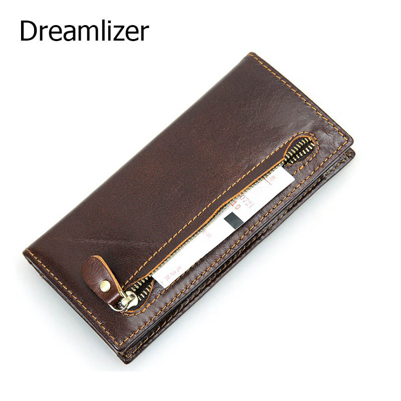 Brand Male Zipper Coin Purse Clutch Wallet Card Holder Vintage Retro 100% Genuine Oil Wax Cowhide Leather Men Long Wallets 40