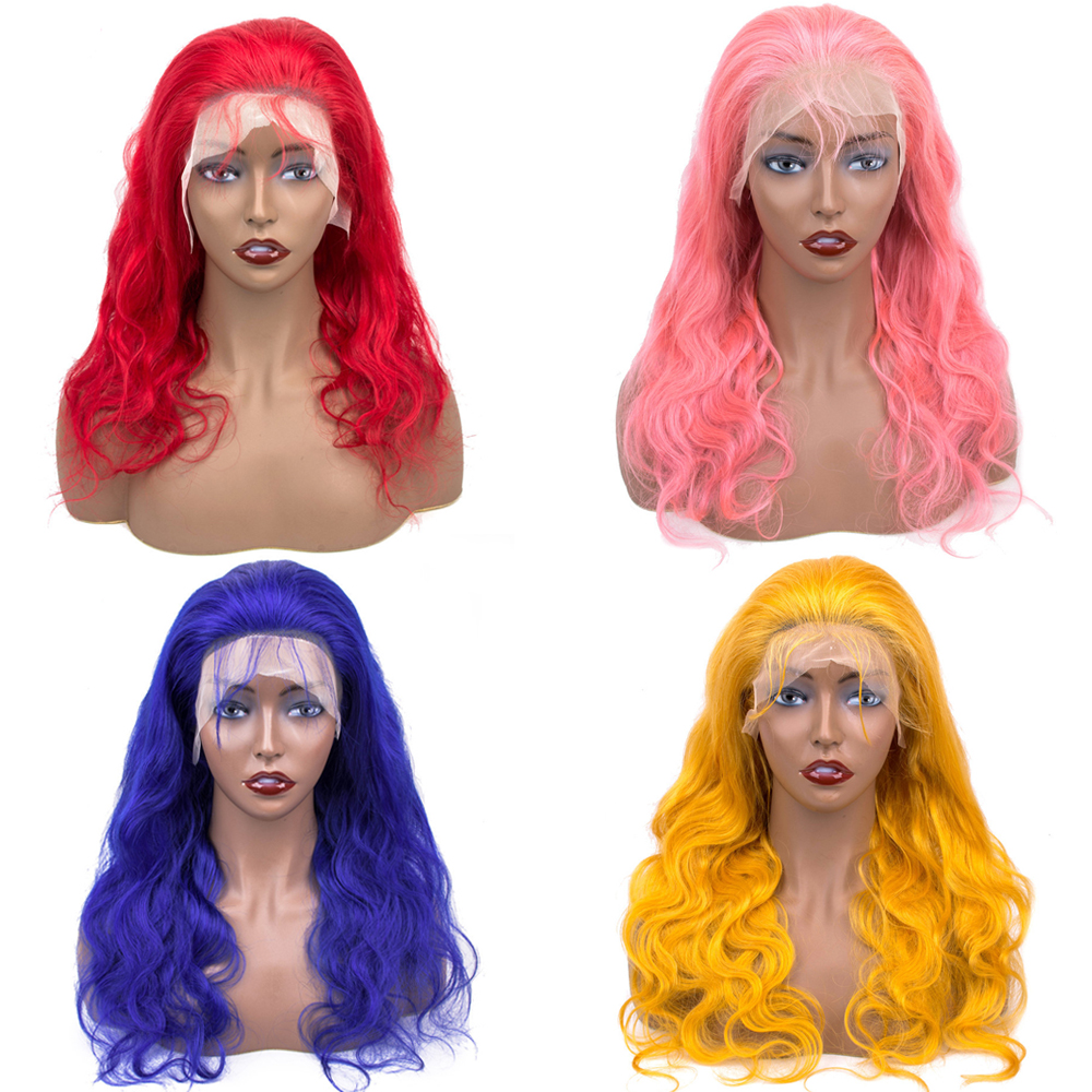 Pre Colored Blue Red Yellow Pink Frontal Wig Lace Front Human Hair Wigs Body Wave Brazilian Wigs Remy Transparent Lace 130% 150%