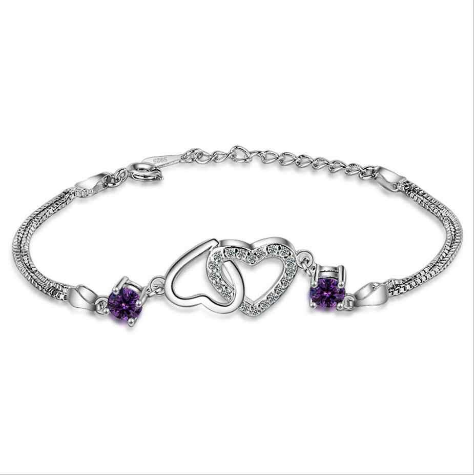 MEEKCAT チャーム女性 925 シルバーブレスレットジュエリートップの品質クリスタル紫色の女性のアンクレットブレスレットアクセサリーガールレディビジュー