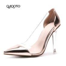 купить 2019 Spring Autumn Women Shoes Fashion Transparent Thin High Heels Pumps Slip On Pointed Toe Party Shoes Ladies Gold Silver Pink по цене 2028.06 рублей