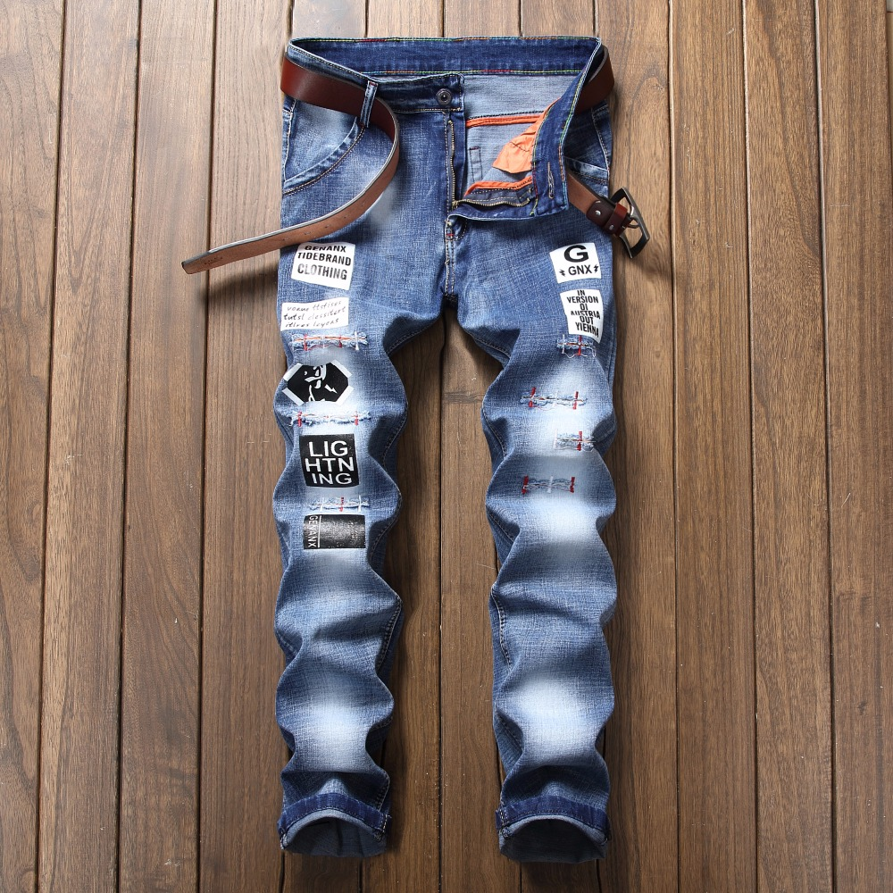 New New Fashion Men Jeans Ripped Biker Hole Denim Patchwork Hip Hop Hole Slim Fit Straight Slim Pathwork Rap Elasticity Pants personality patchwork jeans men ripped jeans fashion brand scratched biker jeans hole denim straight slim fit casual pants mb541