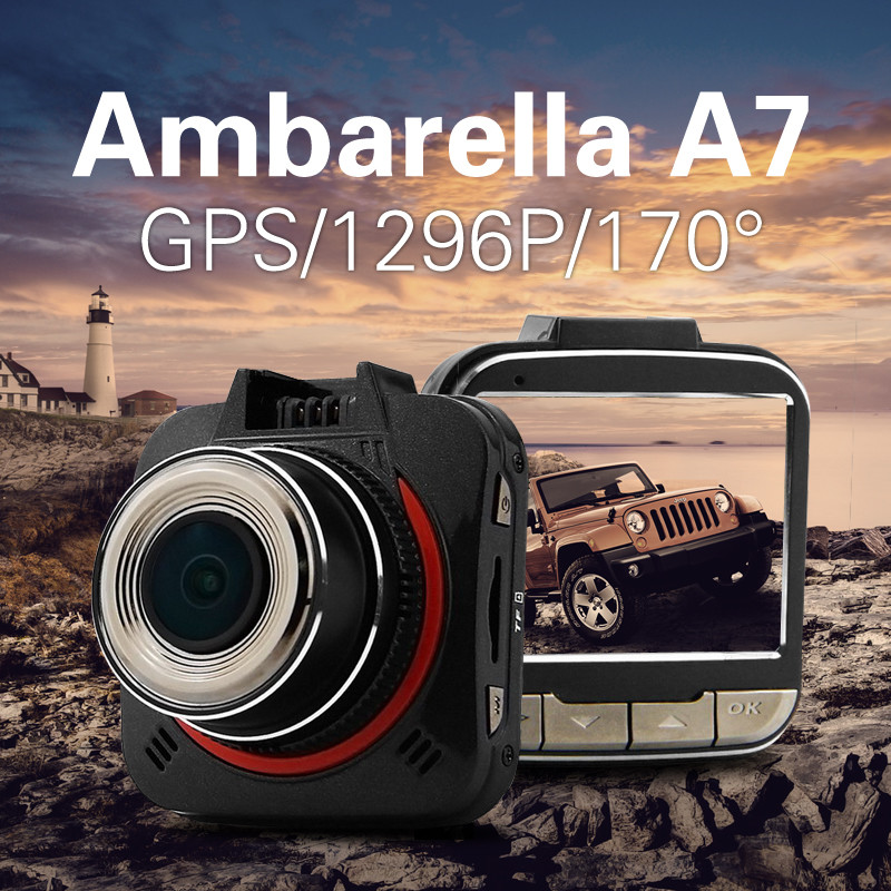 Azdome GS52D Ambarella A7 Car DVR 2304*1296P Full HD Car Camera GPS Logger 170 Degree Wide Angle Lens Dash Cam Camcorder G52D car suction cup for dash cam holder with 6 types adapter 360 degree angle car mount for driving dvr camera camcorder gps acti