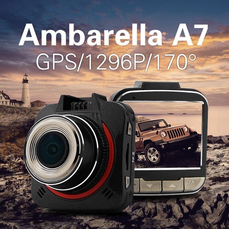 imágenes para Coche DVR de Ambarella A7 GS52D 2304*1296 P Full HD de Coches Cámara de Vídeo Registrador GPS Dash Cam Videocámara de 170 Grados Lente Gran Angular