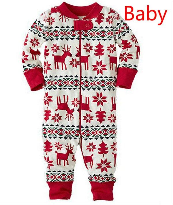 Семейный Рождественский пижамный комплект; одежда для мамы и ребенка; свитер с длинными рукавами и принтом+ штаны; комплект из 2 предметов; Семейные комплекты - Цвет: Baby