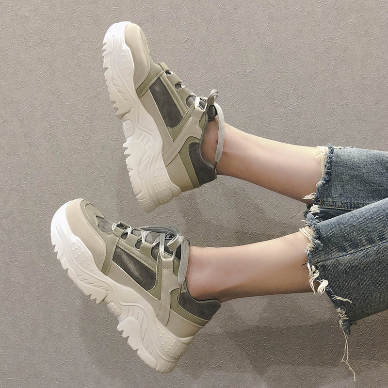 Tleni Sneakers Shoes Female Students 2019 Spring New Thick-soled Platform Shoes Increased Sneakers Wild ZD-50