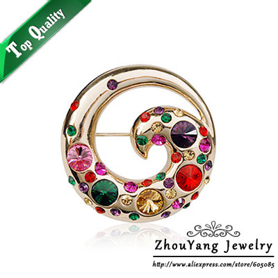 ZHOUYANG ZYX006 Elegant Colorful Phoenix  Champagne Gold Plated Fire Bird  Brooches Jewelry Austrian Crystal  Wholesale