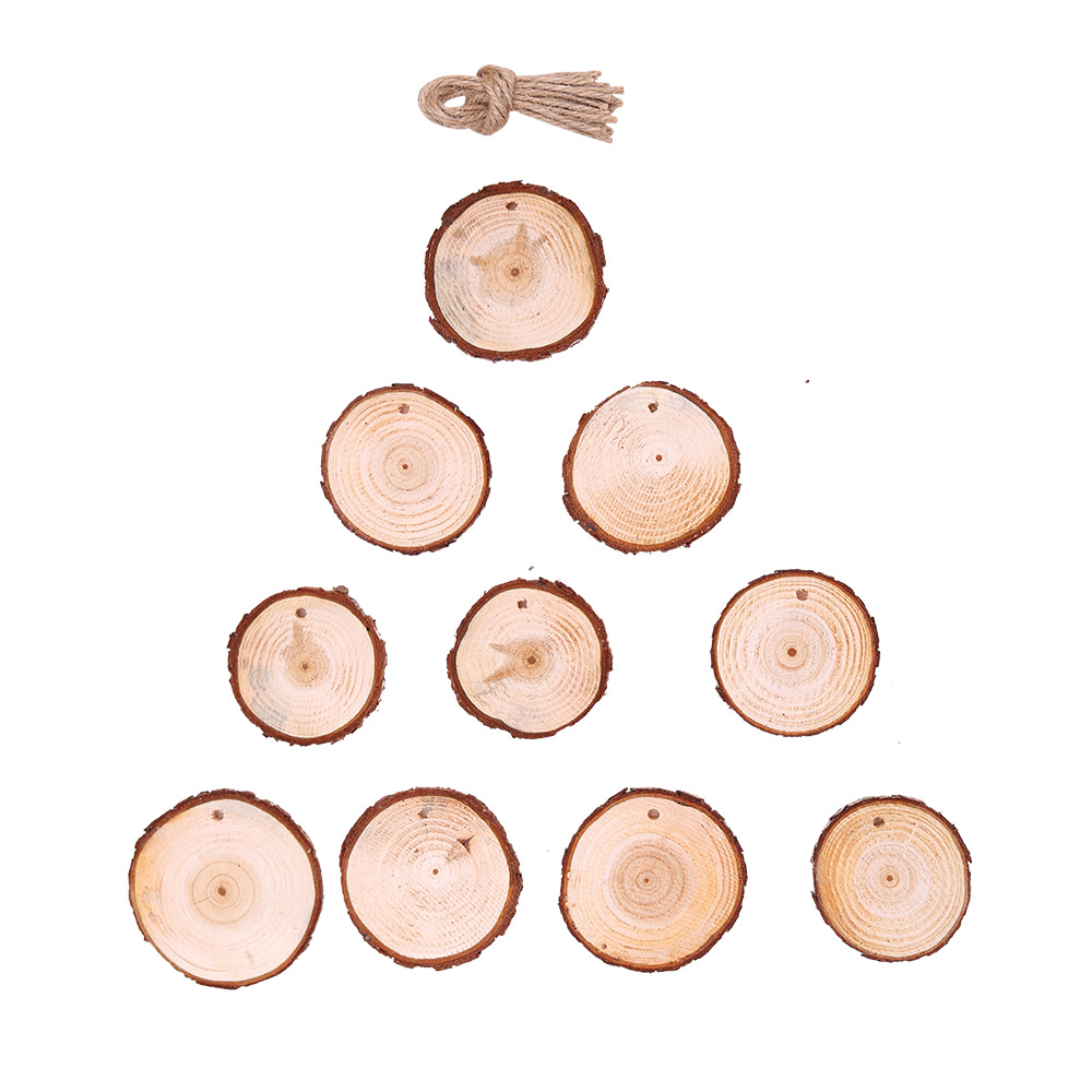 Where To Buy Christmas Decorations Year Round: 10pcs Round Wood Slices Christmas Ornaments DIY New Year's