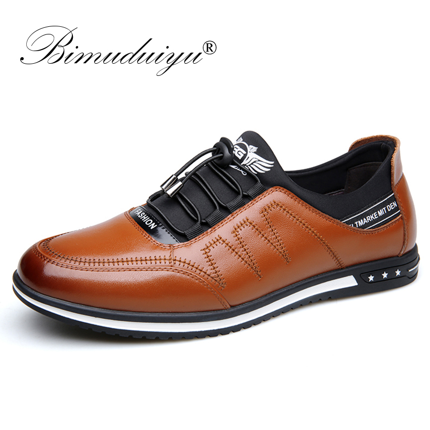 BIMUDUIYU Handmade Genuine Leather Men Loafers Shoes Fashion Sneakers Casual Shoes Comfortable Slip On Men Flats