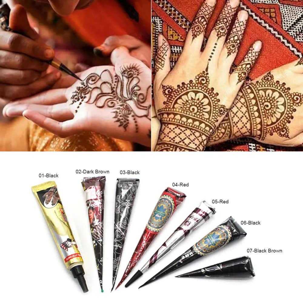 1pc Black Ink Color Henna Tattoo Paste Indian Waterproof Tattoo Mehndi Diy Drawing Tatoo Body Paint Art Cream Cone For Stencil Aliexpress