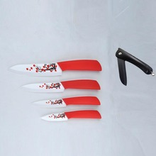 Knife Set 5 pieces/set 4 stainless steel slicing  utility fruit ceramic knives+1 free folding knife sharp edge cooking tools