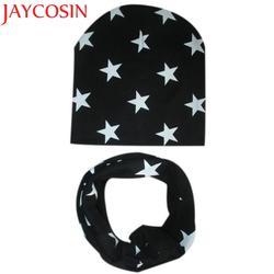 JAYCOSIN Новая модная Милая Детская шапочка комплект Повседневное звезда печатных мешковатые шапки-боб Skullies + уплотнительное кольцо шарф 161011