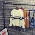 2015 Autumn Winter Fashion Women Hollow-out  O-neck Pullover Sweater Casual Brif Striped Basic Top