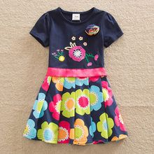 2016 Retail BABY Girl Clothes short Sleeve Girls Dress Bow Kids pretty Dresses Full A-line children clothing new style SH5868