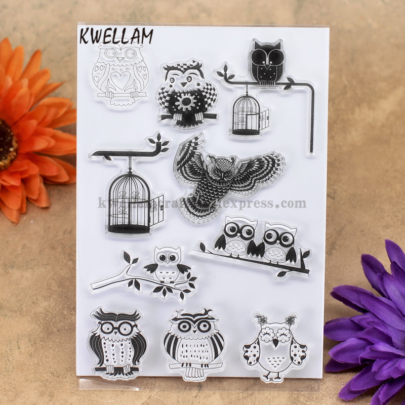 Owl Birdcage Scrapbook Diy Photo Cards Account Rubber