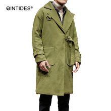 QINTIDES  Men's wear coat New Fashion men's coat  thicken long overcoat men windbreaker