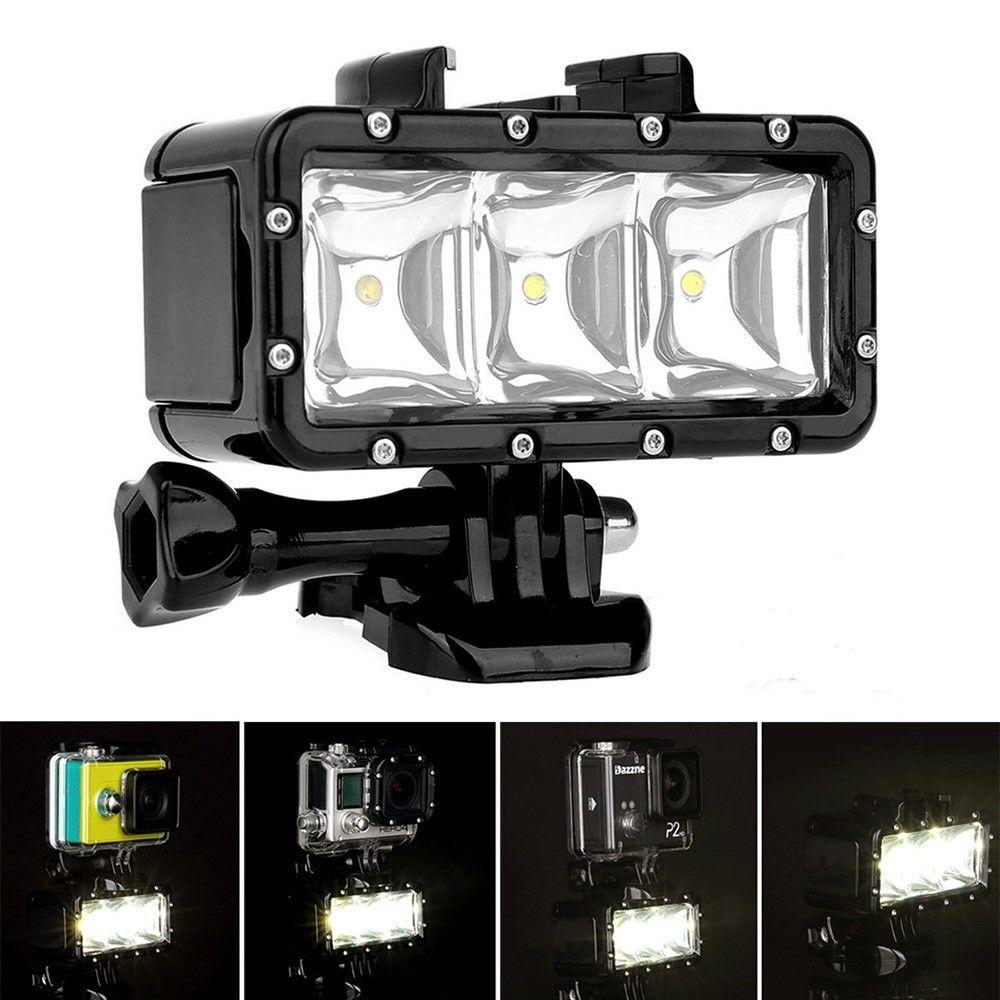 Gopro sous-marin LED étanche Flash plongée tir remplissage lumière lampe supports pour SJCAM SJ4000 Gopro caméra Xiaoyi caméra de sport