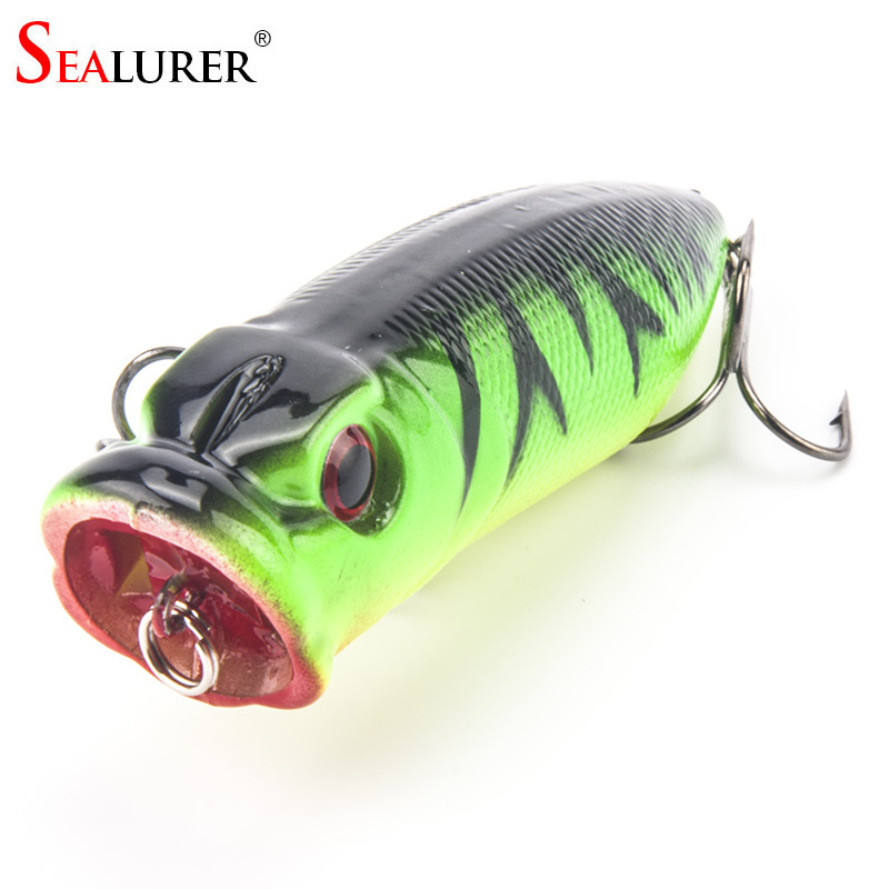 SEALURER Brand Fishing Tackle 3D eyes 6.5CM 13G Pesca 6# Treble Hooks Popper Fishing Lure Plastic Wobbler Artificial Hard Bait