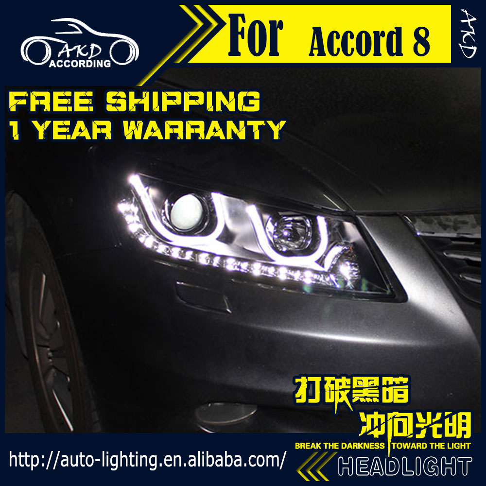 AKD Car Styling Head Lamp for Honda Accord Headlights 2008-2012 LED Headlight DRL H7 D2H Hid Option Angel Eye Bi Xenon Beam akd car styling for nissan teana led headlights 2008 2012 altima led headlight led drl bi xenon lens high low beam parking