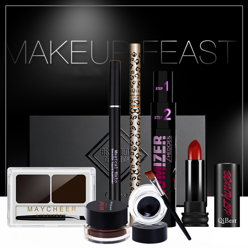 Makup Tool Kit 7pcs Makeup Set Cosmetics Including Eyeshadow Palette Eyebrow Powder Lipstick With Gift Package Makeup Set