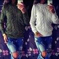 2017New Moda Abrigo Suéter de Cachemira de Cuello Redondo Pullover Sweater Knitting Camisa de la Base Delgada Floja de Punto Jersey de Otoño