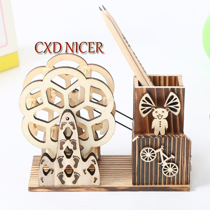 Rotating Ferris Wheel Pencil Holder Wooden Crafts Creative Student Gift Pen Holders Stand For Pens Desk Organizer Chancery