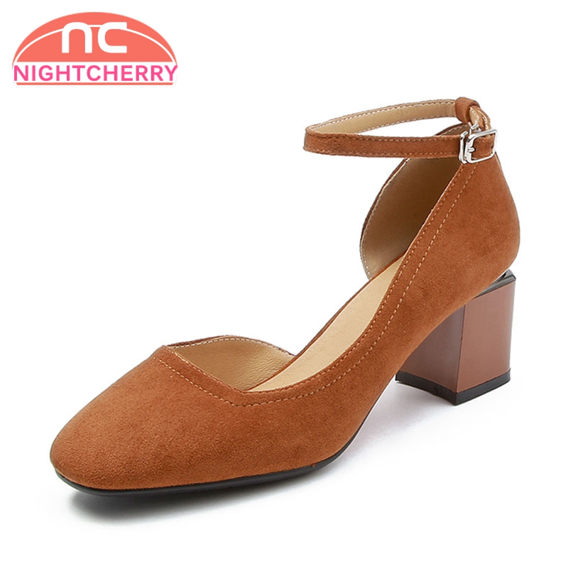 NIGHTCHERRY Women High Heel Pumps Ankle Strap Thick Heel Women Shoes Concise Ornate For Office Work Dress Footwear Size 34-43