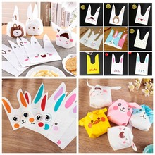 10pcs Long Ears Rabbit Smiley Cat Dog Cookies Candy Plastic Gift Bags Kids Birthday Wedding Party Supplies Bunny Bag Packaging(China)