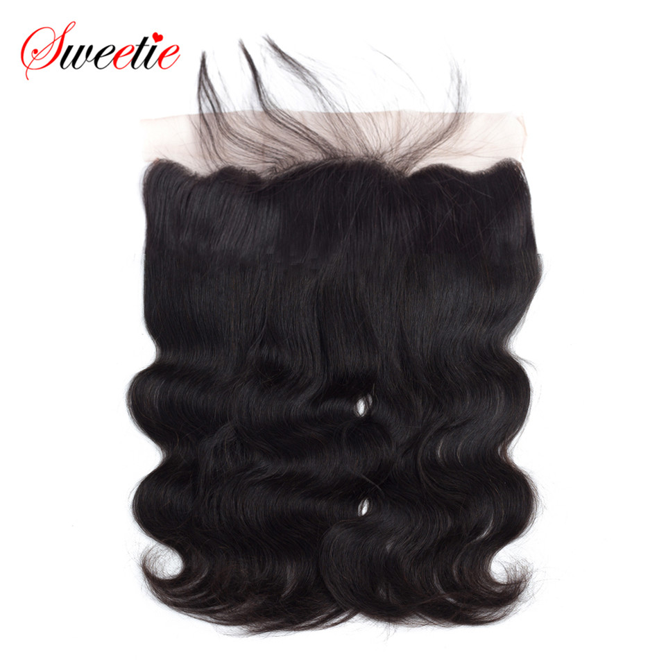 Sweetie Hair Brazilian Remy Hair Body Wave Lace Frontal 13X4 Ear To Ear Free Part Human Hair Closure Natural Color 6-20 Inch
