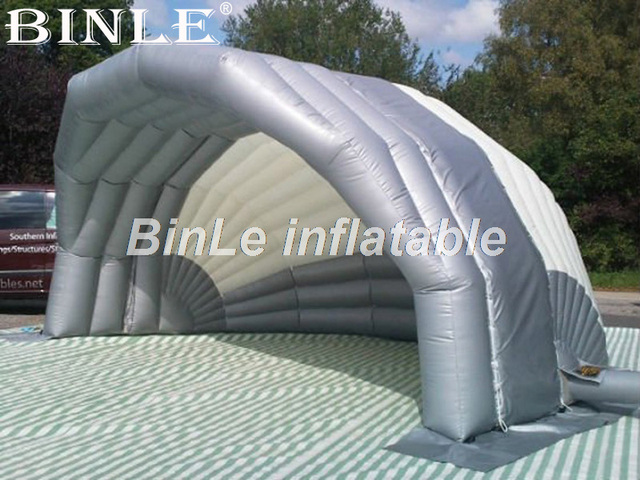 Customized 8m giant slivery shell inflatable stage cover blow up canopy stage tent for concert or & Customized 8m giant slivery shell inflatable stage cover blow up ...