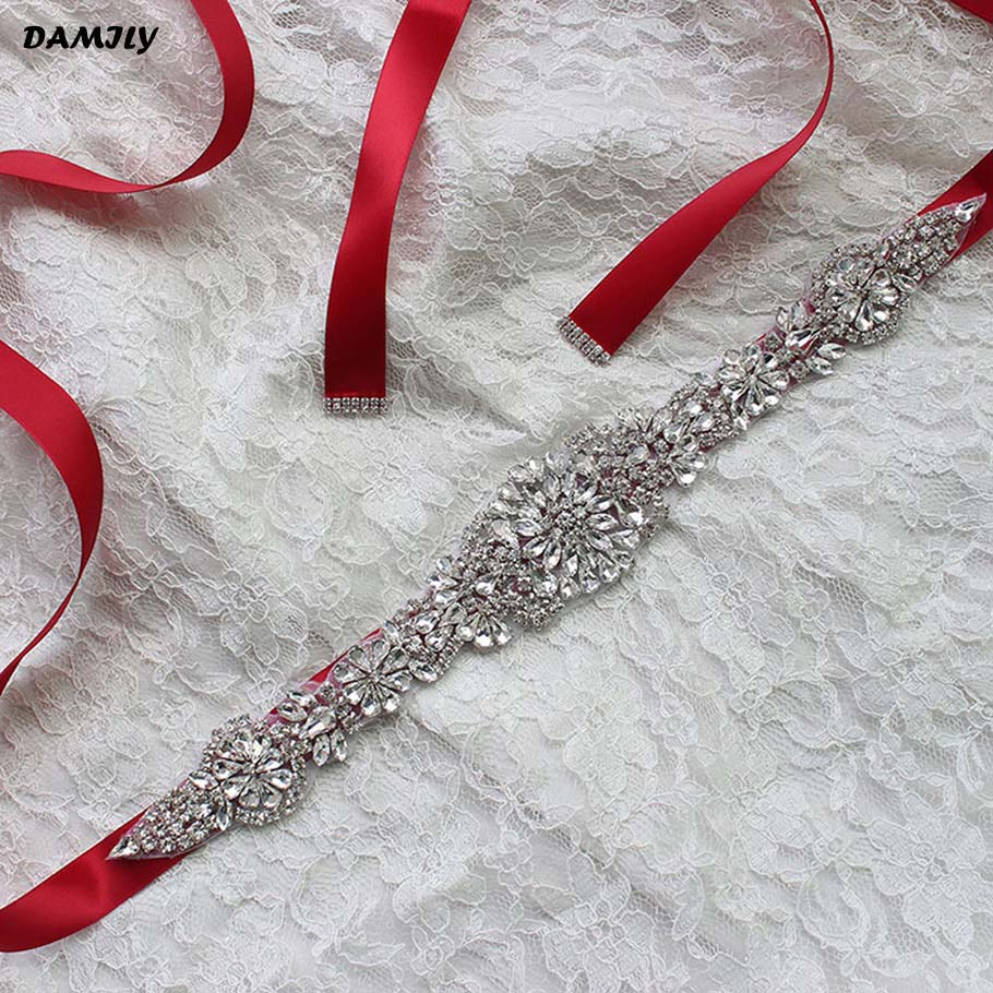 96952eeba9 US $7.99  Women's Crystal Wedding Belts Luxury Rhinestone Wedding Dress  Belt Bridal Wedding Accessories Satin Ribbon Sash Belt Waistband-in Women's  ...