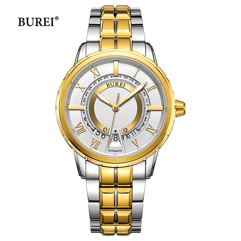 BUREI Gold Silver Black Military Mechanical Watches Men Luxury Brand Business Automatic Wrist Watch Clock Saat Relogio Masculino цена и фото