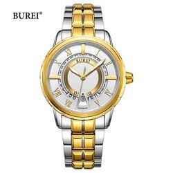 BUREI złoty srebrny czarny wojskowy mechaniczne zegarki mężczyźni luksusowa marka biznes automatyczny zegarek na rękę zegar Saat Relogio Masculino