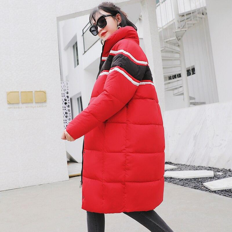 Hiver Coton Femmes Rouge Lettre Rayé Doublure Couple Nouveau Noir Noir rouge Dames Manteaux Veste Imprimer Zipper 2018 Rembourré Femme Épais Parka SzZqFw5Zn