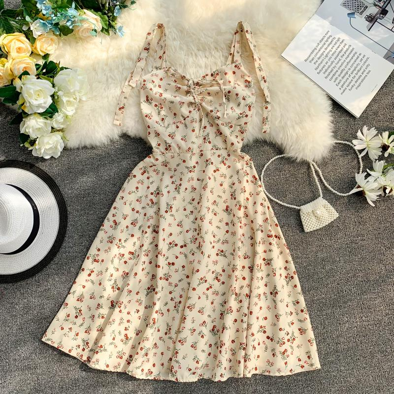 Holiday 2019 New Flower Print V-collar Drawstring High Waist Slim A-line Beach Dress Women Vestidos 12