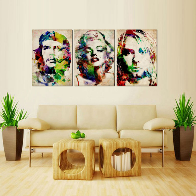 3 Panel Resumen Retrato de Marilyn Monroe Pop Art Cartel de la ...