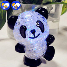 A TOY A DREAM Panda 3D Puzzle LED Flash Panda Crystal Adult Puzzle Creative Children Puzzle Jigsaw Model Sweet Birthday Gift Toy