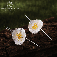 Lotus Fun Moment Real 925 Sterling Silver Fashion Jewelry Blooming Poppies Flower Dangle Earrings for Women