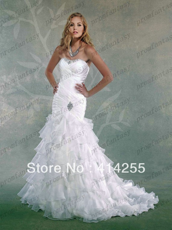 Online Shop 2014 Organza Tiered Ruffles Mermaid Wedding Dresses Bling Beaded Backless Court Train Bridal Fancy Reception Gowns Newest