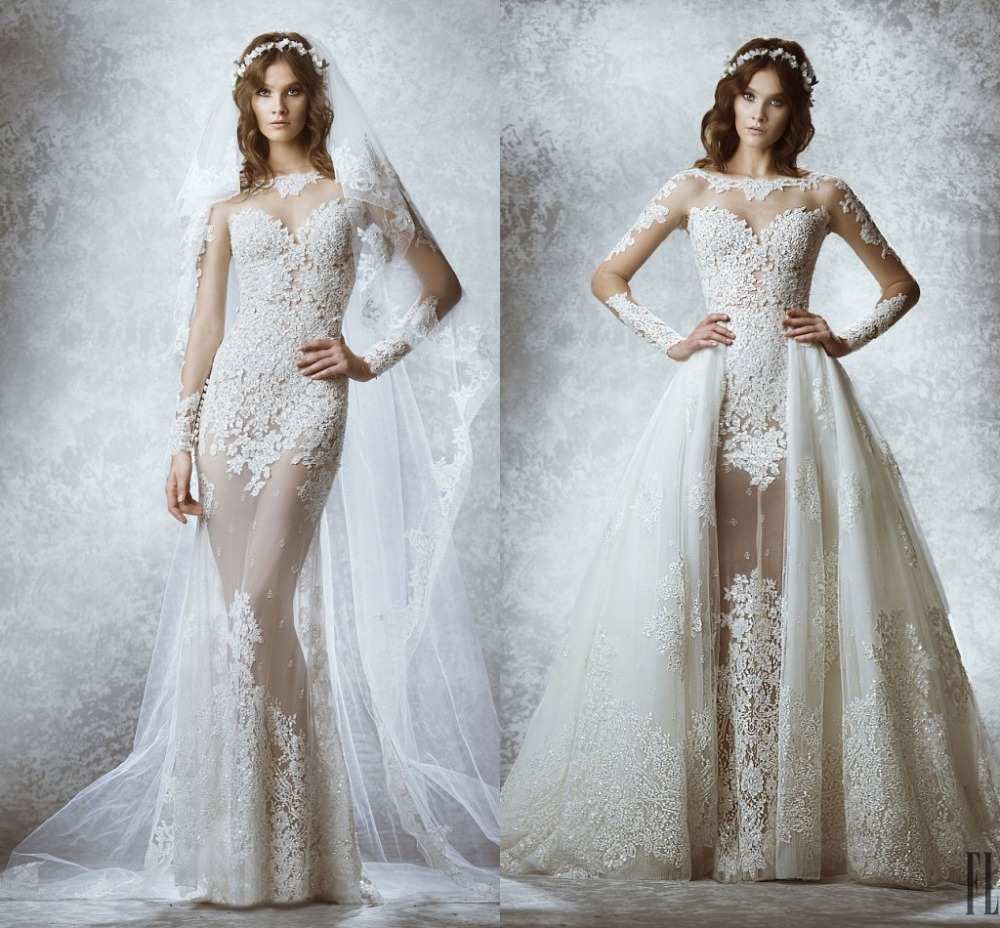Sexy lace appliqued lace wedding dress see through wedding for See through lace wedding dress