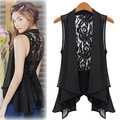 Spring Summer Woman Fashion Cutout Lace Chiffon Vest Female Medium Long Plus Size Hollow Out Lace Waistcoat Office Lady Basic