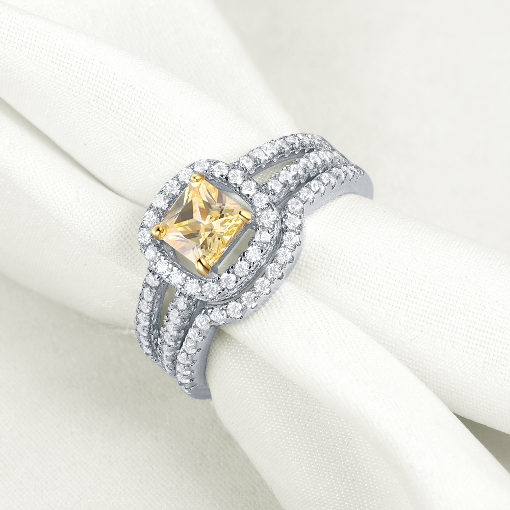 Image 4 - Newshe Blue & Yellow Princess Cut Zirconia 2Pcs 925 Sterling Silver Wedding Rings For Women Engagement Ring SetRings   -