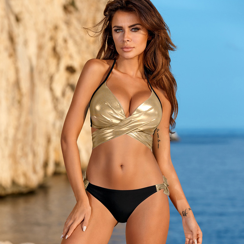<font><b>2018</b></font> <font><b>Sexy</b></font> Padded <font><b>Bikini</b></font> <font><b>Set</b></font> Bandage Cross Gold Swimwear <font><b>Women</b></font> Summer Bathing Suit Poland Female Biquini <font><b>Swimsuit</b></font> image