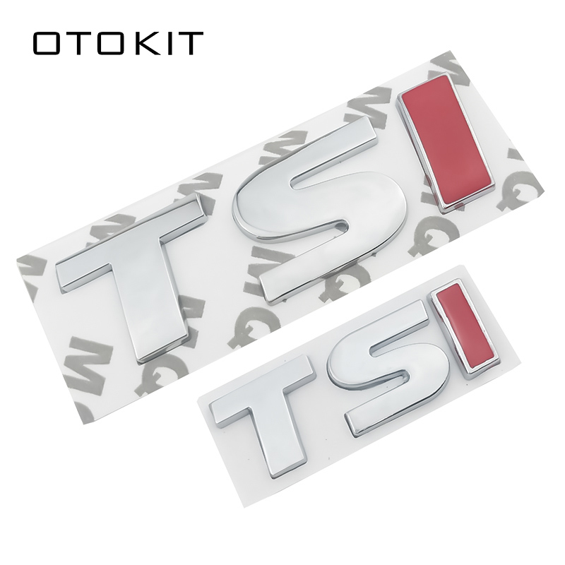 Red TSI Metal Car Stickers Emblem Badge Decal Car Styling Sticker For VW Polo Golf 5 6 7 CC Passat B5 B6 Bora Volkswagen