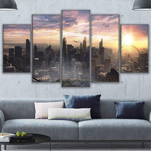 "Full Square/Round Drill 5D DIY Diamond Painting""5 Pieces Chicago Cityscape Sunrise Landscape""Embroidery Cross Stitch Home Decor(China)"