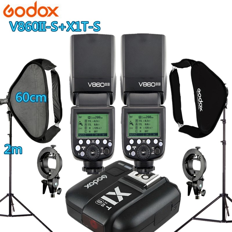 2X Godox V860IIS Flash +1 X1T-S Trigger +2 Light Stand +2 Softbox Photo Studio Kit Photography Accessories for Sony A77II A7RII godox v860iic v860iin v860iis x1t c x1t n x1t s hss 1 8000s gn60 ttl flash speedlite 2 4g transmission godox softbox filter